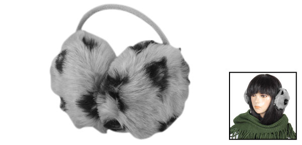 Black Leopard Printed Faux Fur Round Back Wear Earmuff Gray for Lady Women