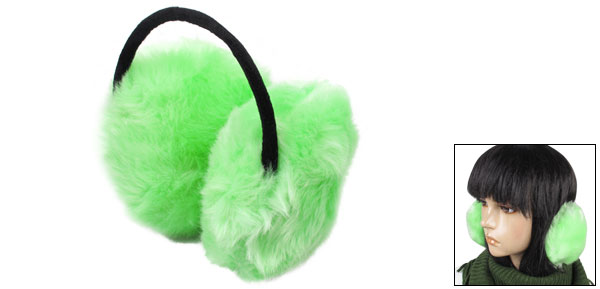 Lady Winter Warmer Headband Faux Fur Back Ear Muffs Earmuffs Green Black
