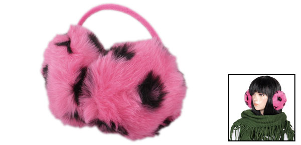 Headwear Leopard Printed Faux Fur Back Wear Earmuff Ear Cover Watermelon Red Black