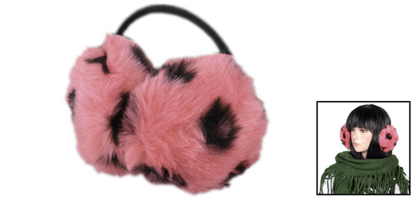 Black Leopard Printed Faux Fur Round Back Wear Earmuff Light Pink for Lady