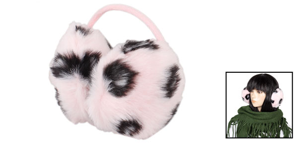 Ladies Headwear Leopard Printed Faux Fur Back Wear Earmuff Ear Cover Pink Black