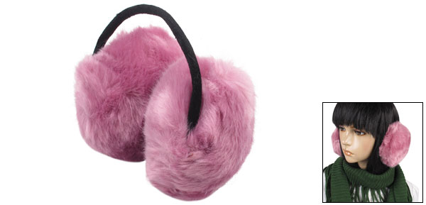 Women Winter Light Purple Fluffy Faux Fur Back Ear Muffs Cover Earmuffs