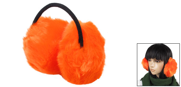 Metal Bow Frame Faux Fur Fluffy Earlap Ear Covers Back Earmuffs Orange Black