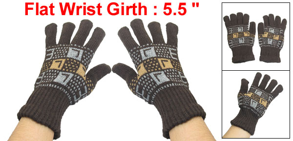 Man Letters Printed Knitting Stretchy Ribbed Winter Gloves Coffee Color