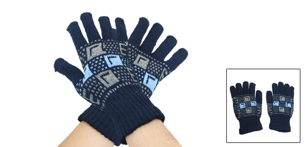 Men Letters Prints Elastic Knit Full Finger Warmer Gloves Navy