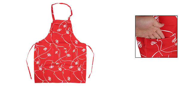 White Flower Printed Full Length Cooking Baking Canvas Apron Red