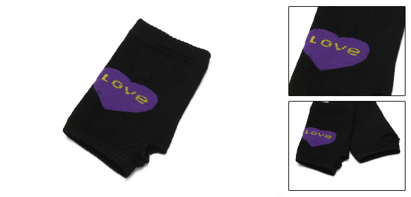 Purple Heart Pattern Knitting Mitten Fingerless Gloves Black for Ladies