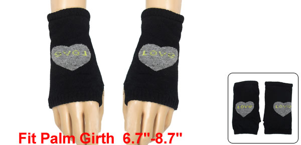 Women Heart Prints Thumb Hole Detail Elastic Knit Gloves Black Gray