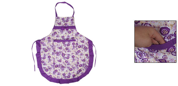 Patch Pocket Bowknot Adjustable Neck Strap Flower Printed Apron Purple White