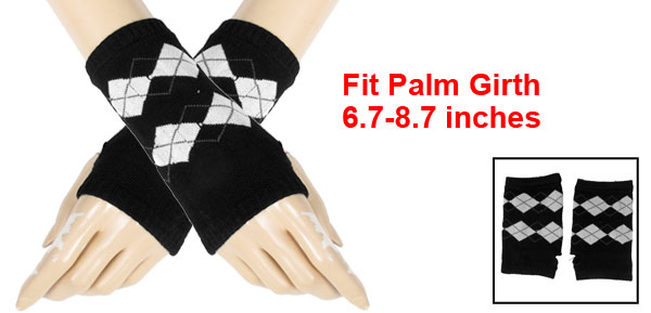 White Argyle Pattern Knitting Mitten Fingerless Gloves Black for Ladies