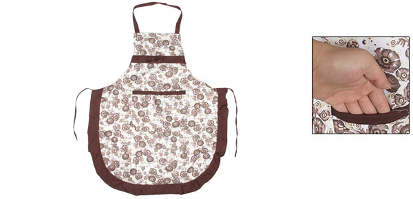 Cotton Blends Flower Printed Bowknot Accent Kitchen Apron Brown White for Lady