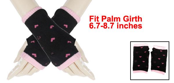 Pink Heart Pattern Knitting Mitten Fingerless Gloves Black for Ladies