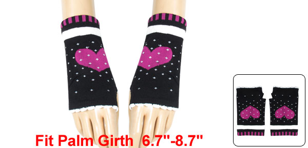 Fuchsia Heart Pattern Knitting Mitten Fingerless Gloves Black for Ladies