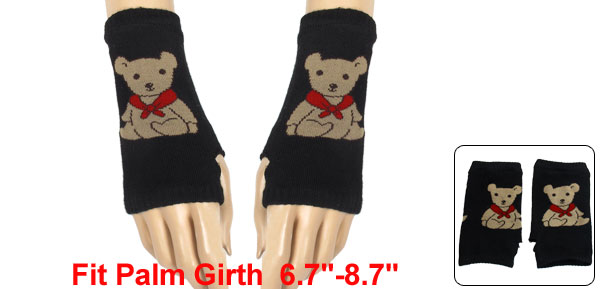 Cartoon Bear Pattern Knitting Mitten Fingerless Gloves Black for Ladies