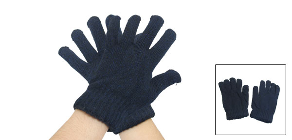 Man Double Layer Knitting Stretchy Ribbed Winter Gloves Black Navy