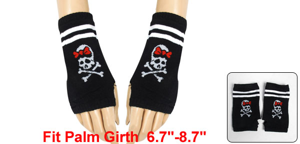 Women Skull Printed Thumb Hole Detail Elastic Knit Gloves Black White