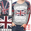 Mens Spring Fashion Round Neck Union Jack Pattern Prints Light Gr...