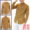 Mans Metal Button Front Dots Pattern Point Collar Ochre Yellow Sh...