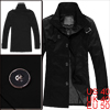 Mens Spring New Fashion Buckle Neck Decor Button Fastening Black Trench Coat M