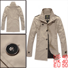 Mens New Fashion Stand Collar Beige Single Breasted Waist Length Trench Coat M