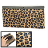Ladies Faux Leather Black Brown Leopard Pattern Flip Lock Closure Wallet Purse