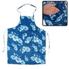 Kitchen Cook Floral Printed Light Dark Blue Self Tie Strap Bib Apron