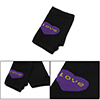 Woman Heart Printed Elastic Knitted Fingerless Gloves Black Purple