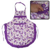 Patch Pocket Bowknot Adjustable Waist Strap Flower Printed Apron Purple White