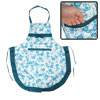 Household Cyan White Floral Bowknot Decor Patch Pocket Kitchen Apron for Lady