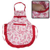 Household Red White Flower Bowknot Patch Pocket Kitchen Apron for Lady