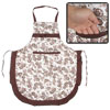 Cotton Blends Flower Printed Bowknot Accent Kitchen Apron Brown W...