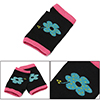 Women Cyan Floral Prints Thumb Hole Detail Elastic Knit Gloves Bl...