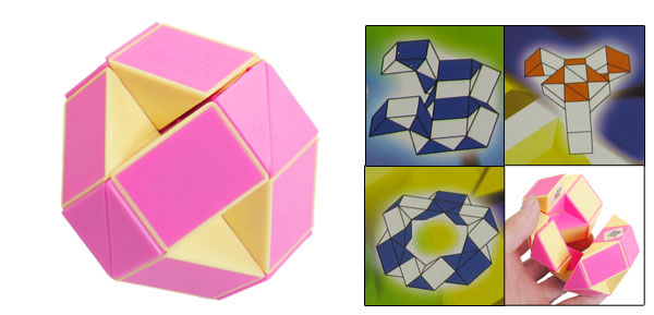 Child Pink Yellow Multi Shape Flower Cross Magic Cube Puzzle Toy