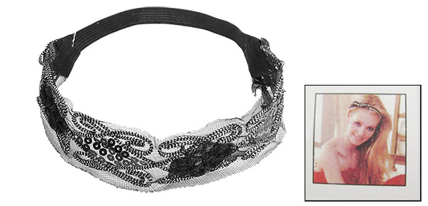 Shiny Silver Tone Sequin Embellish Black Elastic Hairband