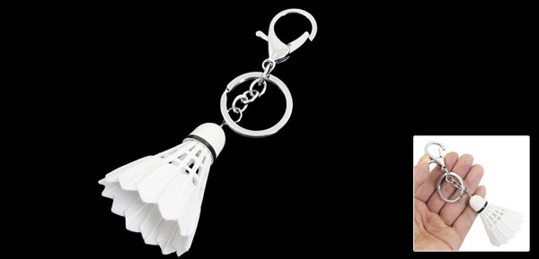 White Plastic Badminton Pendant Lobster Hook Keychain Keyring Hanging Ornament