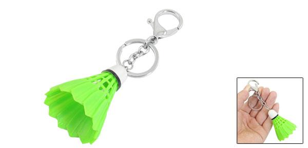 Keychain Handbag Split Ring Green Silver Tone Plastic Badminton Shape Pendant