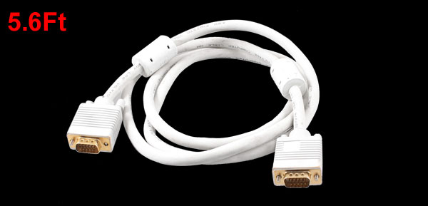 1.7M 5.6Ft 15 Pin VGA Male to Male Cable Cord Adapter White