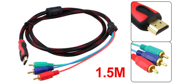 1.5M 4.9Ft HDMI Type A Male to 3 RCA Male Audio Video Cable for HDTV DVD
