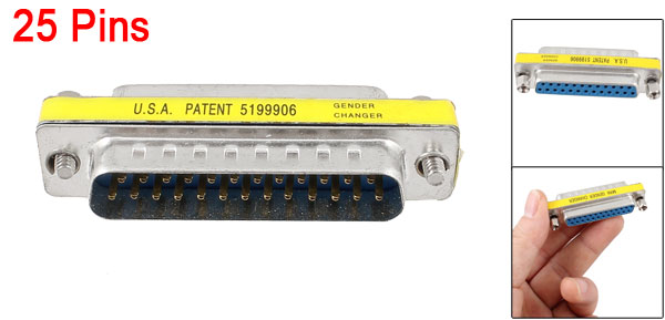 Printer DB 25 Pin Male to 25-Pin Female M/F Adapter Connector
