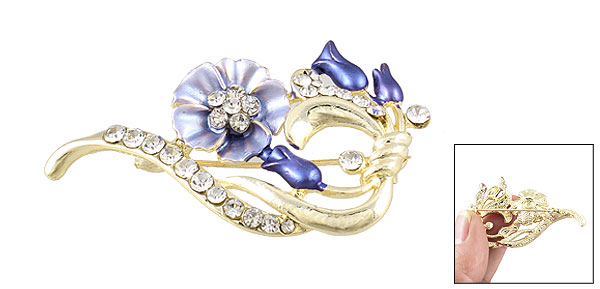 Women Rhinestone Decoration Blue Flower Safety Metal Brooch Breastpin