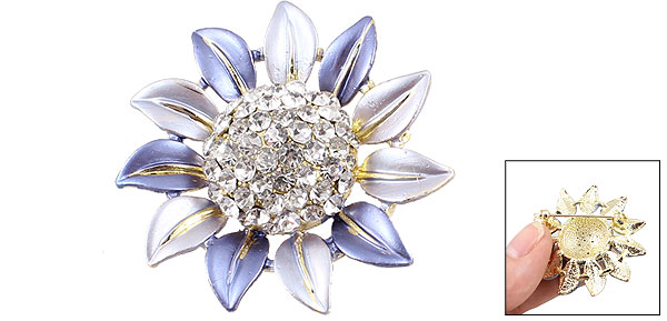 Lady Dress Adornment Rhinestone Accent Light Blue Sunflower Pin Brooch Broach