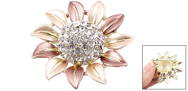 Rosy Brown Sunflower Rhinestones Decoration Pin Brooch Breastpin Gift for Lady
