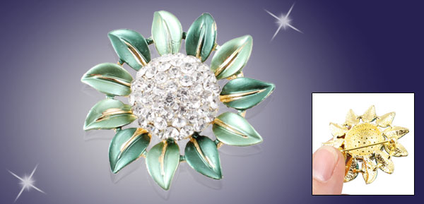 Woman Lady Glitter Rhinestone Detail Green Sunflower Safety Pin Brooch Broach