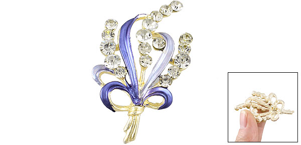 Lady Bling Bling Rhinestone Detail Blue Leave Safety Pin Brooch Broach
