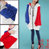 Ladies Color Blocking Batwing Round Neck Chic Hooded Outerwear White Red Blue S