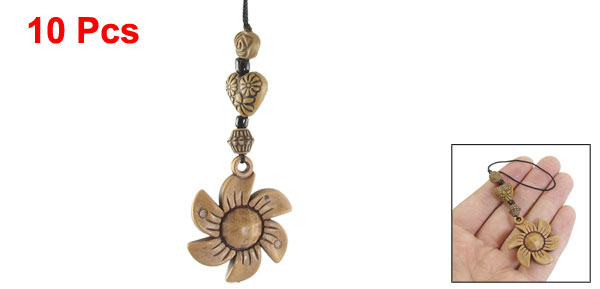 10PCS Brown Wooden Flower Shaped Pendant Mobile Phone MP3 Straps Decoration