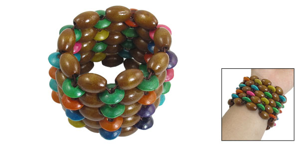 Women Men Elastic Wrist Band Multi Rows Brown Wood Beaded Bracelet Bangle