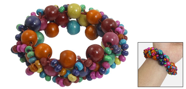 Women Wooden Round Beads Stretchy Multi Strings DIY Braided Bracelet Colorful