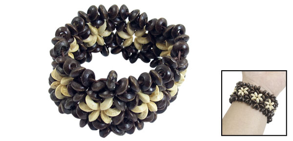 Women Dark Brown Wooden Round Bead Coconut Shell Elastic DIY Braided Bracelet