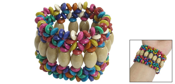 Lady Light Brown Wooden Oval Shape Beaded Elastic Braided Wide Bracelet Colorful